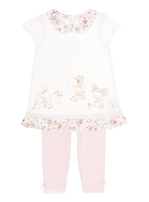 Cream Mouse Dress And Leggings Set (0-24 months)