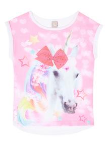 Multicoloured Unicorn Bow Top (3-12 years)