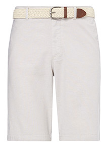 Stone Belted Oxford Chino Shorts