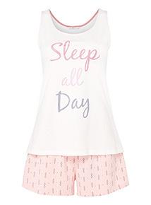 'Sleep All Day' Slogan Pyjamas