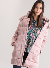 Premium Pink Sheen Textured Padded Coat
