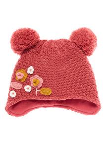 Pink Floral Pom Pom Hat  (0-24 months)