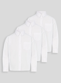 Boys White Long Sleeved Bionic Non Iron Shirts 3 Pack (3-12 Years)
