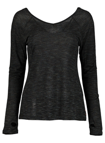 Black Long Sleeved Metallic T-Shirt