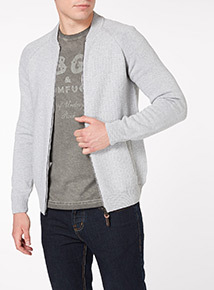 Grey Basket Stitch Knitted Raglan Bomber