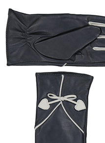 Navy Leather Contrast Detail Gloves