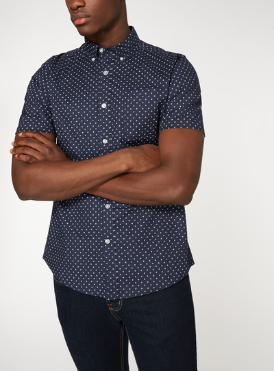 Navy Regular Fit Oxford Print Shirt With Stretch