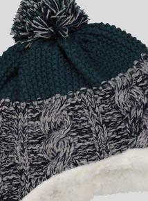 Blue Twist Knit Trapper Hat (Newborn - 2 years)