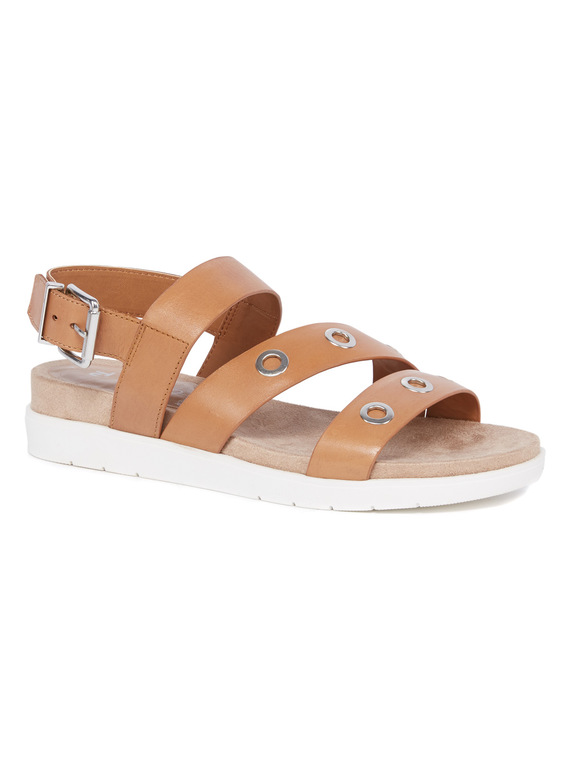 Sole Comfort Tan Leather Eyelet Sandals