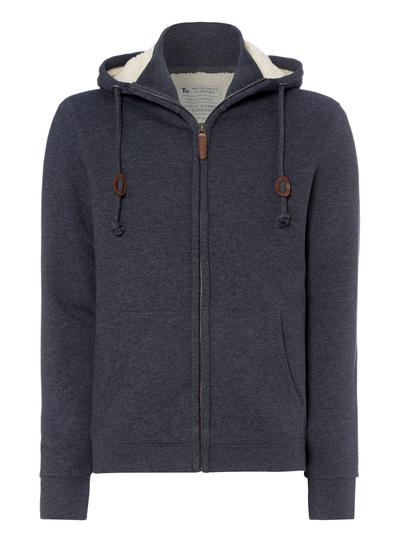 b6aacb9083a Menswear Navy Marl Zipped Borg Lined Sweater