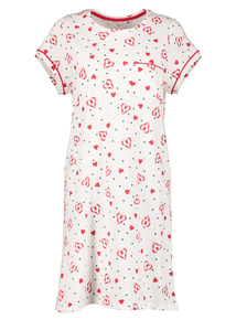 Cream Candy Cane Heart Print Nightdress