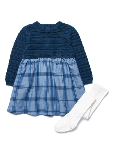 Navy Knitted Check Dress & Tights Set (0-24 months)