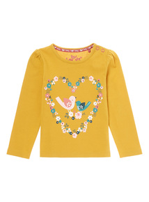 Yellow Bird In Heart Printed Tee (0-24 months)