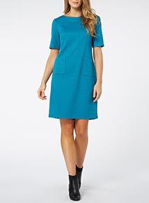 Teal Textured Smart Dress