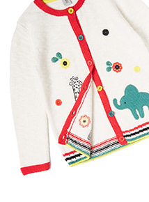 Multicoloured Animal Embroidered Knitted Cardigan (9 months-6 years)