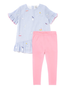 Multicoloured Nautical Embroidered Dress and Legging Set (9 months-6 years)