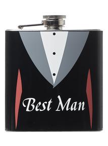 Black stainless steel 'Best Man' wedding day hip flask