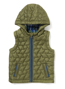 Khaki Quilted Gilet (0-24 months)
