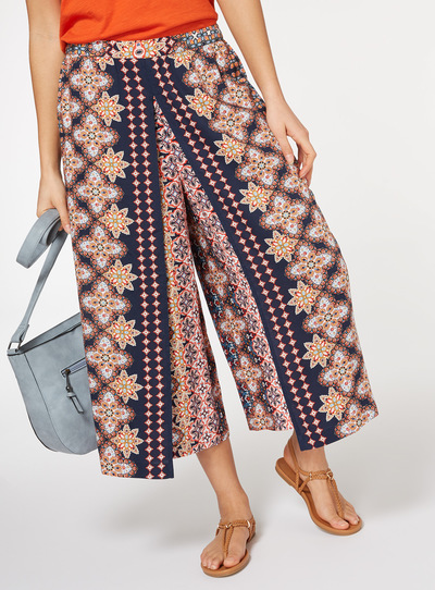 Floral Printed Bohemian Wrap Culottes