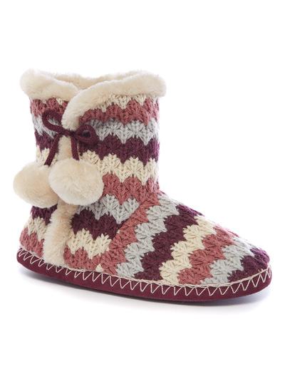 Zig Zag Print Slipper Boots