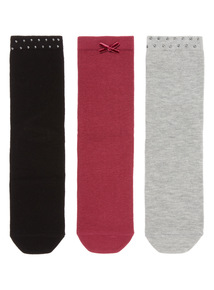 3 Pack Stud and Bow Socks