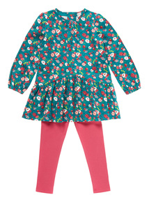 Multicoloured Corduroy Dress And Leggings Set (9 months-5 years)