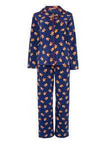 Navy Gingerbread Man Fleece Pyjamas