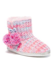Multicoloured Knitted Stripe Slipper Boot