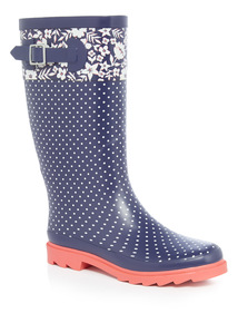 Spot and Floral Border Welly