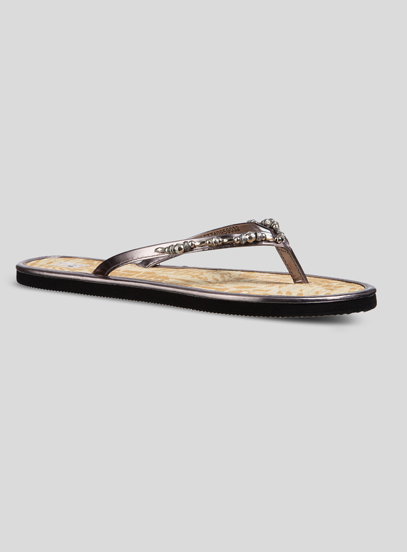 124446689 Womens Silver Beaded Seagrass Flip Flops