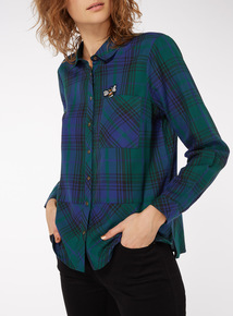 Bee Embroidered Check Shirt