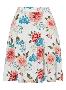 Grey Floral Tiered Skirt