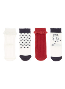Multicoloured Four Pack Socks (3 months - 24 months)