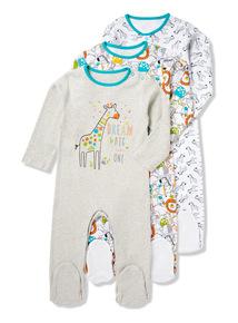 3 Pack Multi Giraffe Print Sleepsuits (0-24 months)