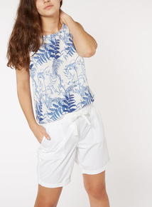 Online Exclusive Leaf Print Shell Top