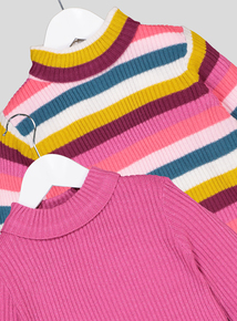 Multicoloured Roll Neck Jumpers 2 Pack (3-14 years)