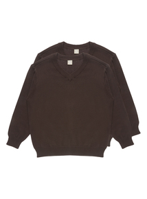 Unisex Brown V Neck Jumpers 2 Pack (3-12 Years)