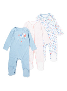 3 Pack Multicoloured Floral Sleepsuits (Newborn-24 months)
