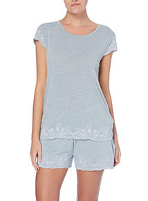 Blue Vintage Embroidered T-Shirt