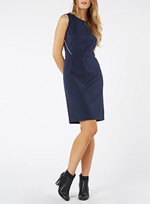 Navy Trimmed Smart Dress