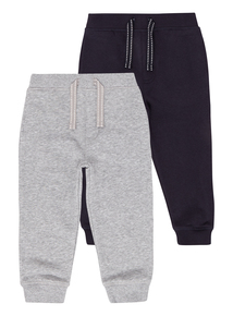 Boys Grey and Navy Joggers 2 Pack (9 months-5 years)