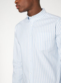 Blue Striped Stretch Oxford Shirt