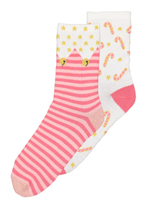Christmas Pink & Cream Candy Cane Socks 2 Pack