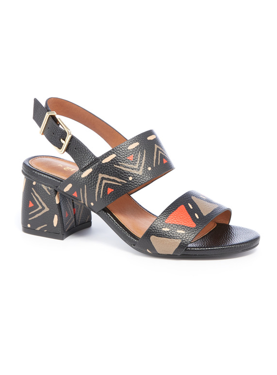 Sole Comfort Black Geo Print Heel Sandals