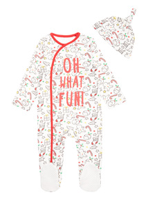 Multicoloured Christmas Oh What Fun Sleepsuit and Hat Set (0-24 months)