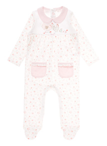 Girls Pink Floral Sleepsuit (0-12 months)