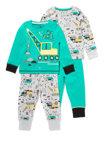 2 Pack Green Construction Print Pyjamas (9 months-6 years)