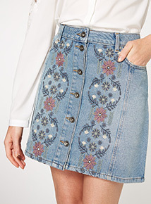 Denim Embroidered Mini Skirt