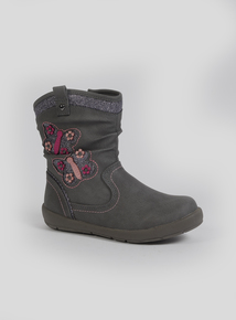 Grey Floral Butterfly Boots