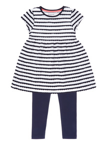Multicoloured Stripe Dress And Leggings Set (9 months - 6 years)